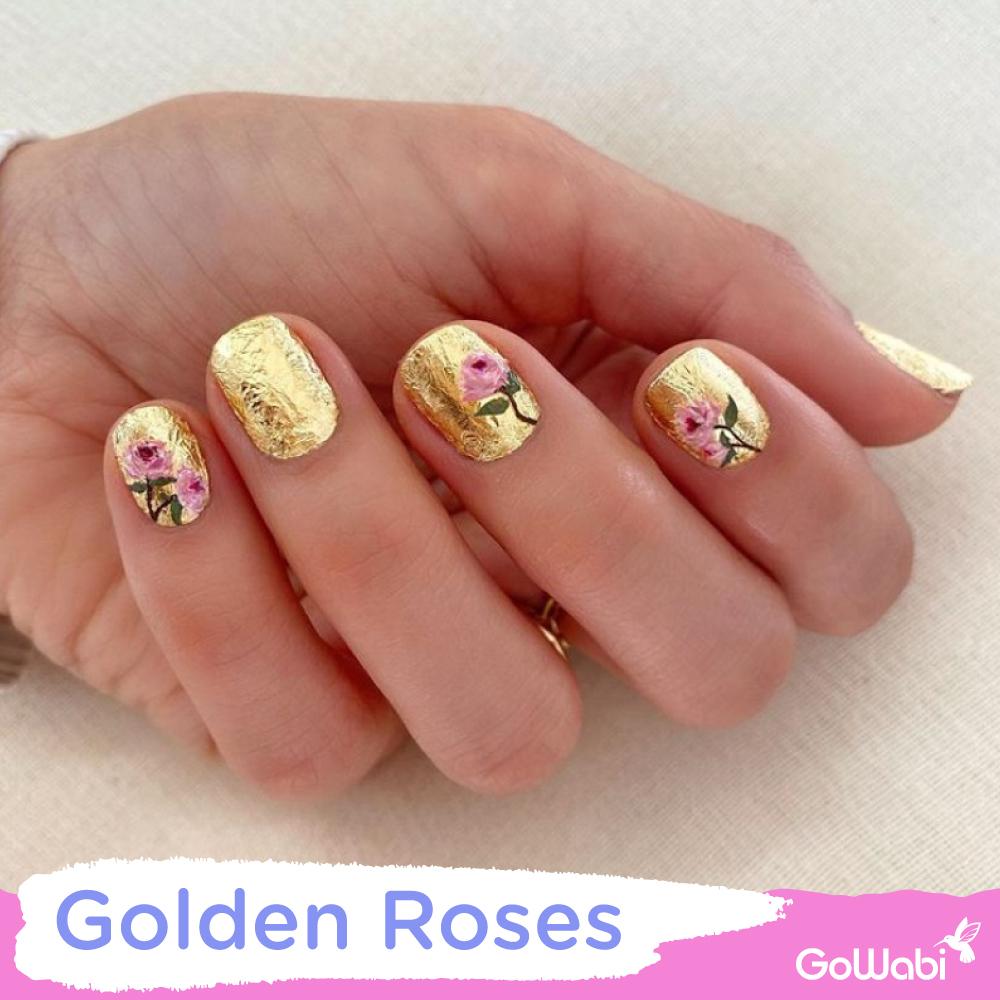 ไอเดียทาเล็บ ลาย golden roses