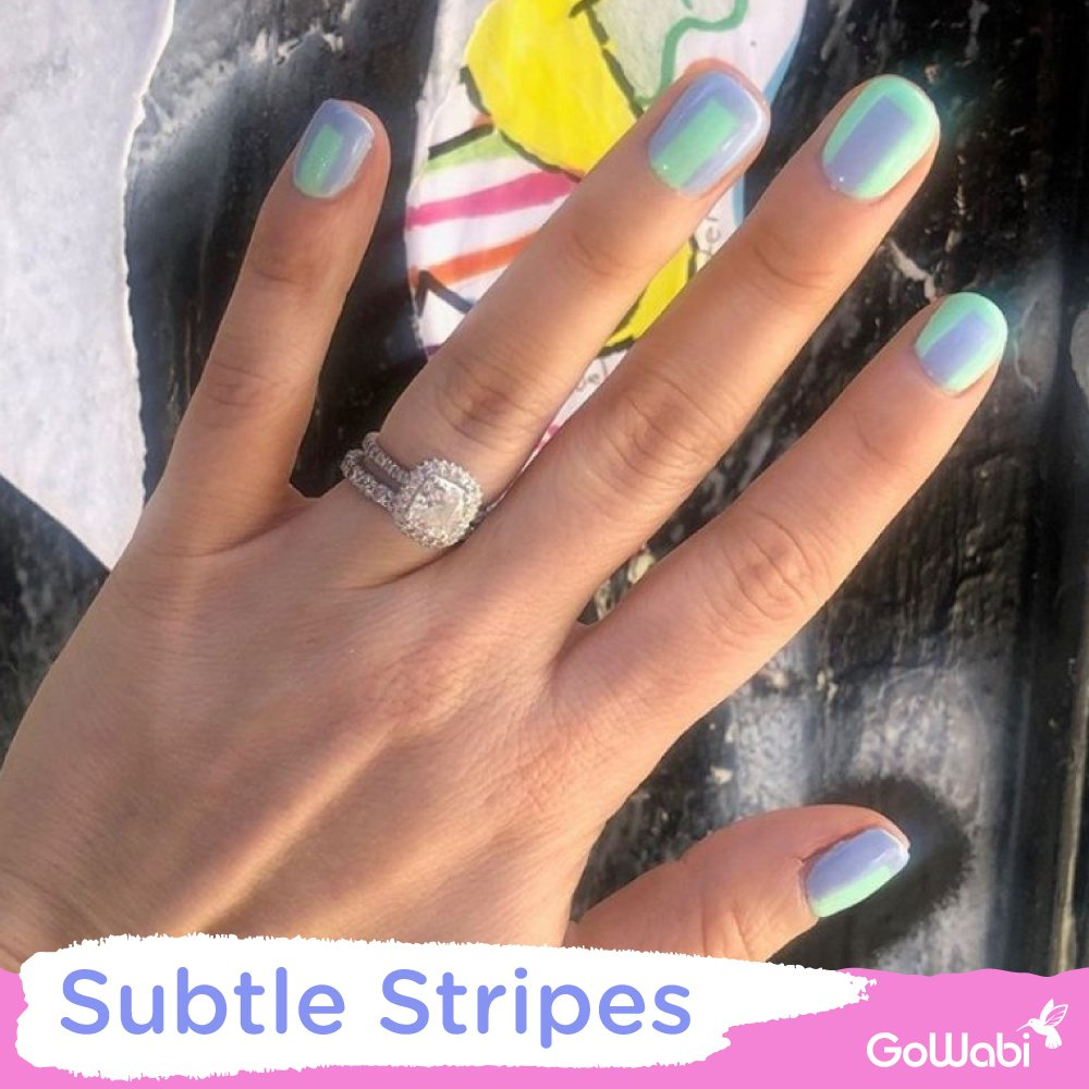 ไอเดียทาเล็บ ลาย subtle stripes