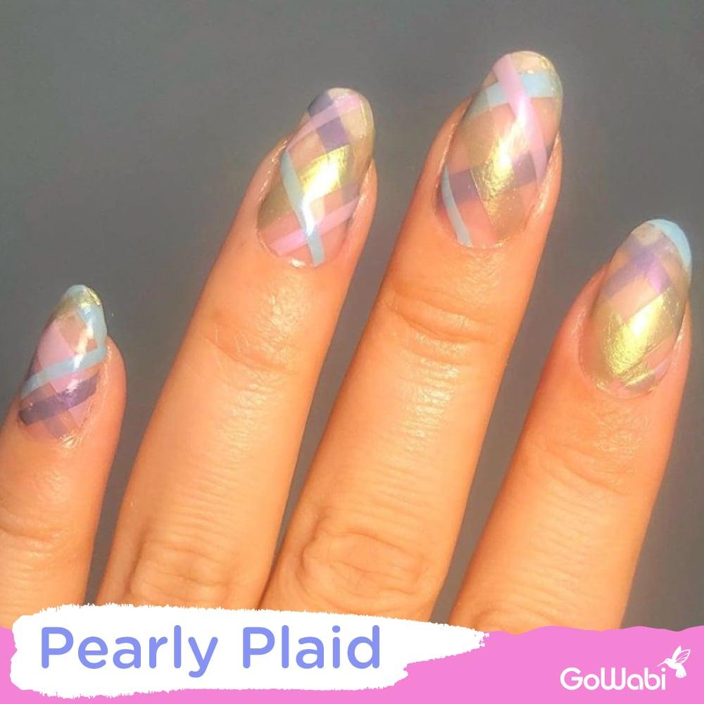 ไอเดียทาเล็บ ลาย  pearly plaid