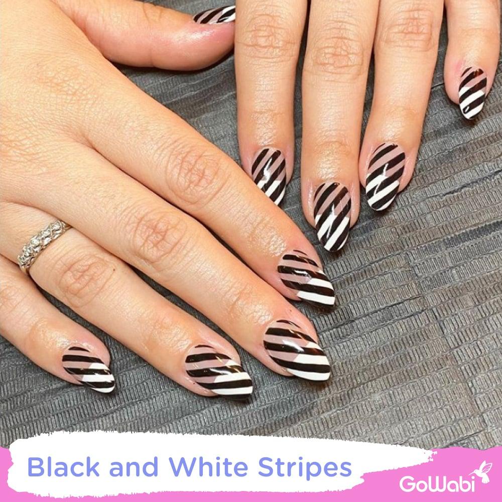 ไอเดียทาเล็บ ลาย  black and white stripes